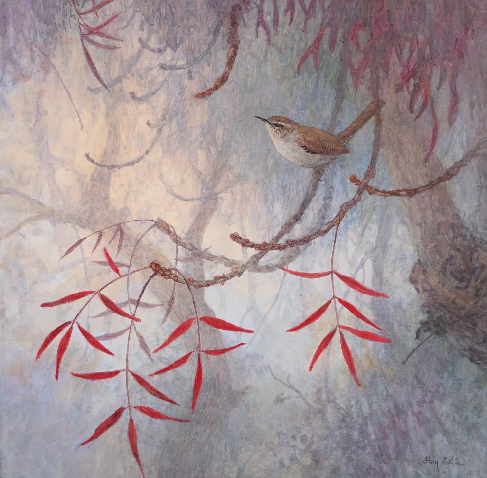 'Bewick's Wren' 16 x 16 watercolor on wood panel