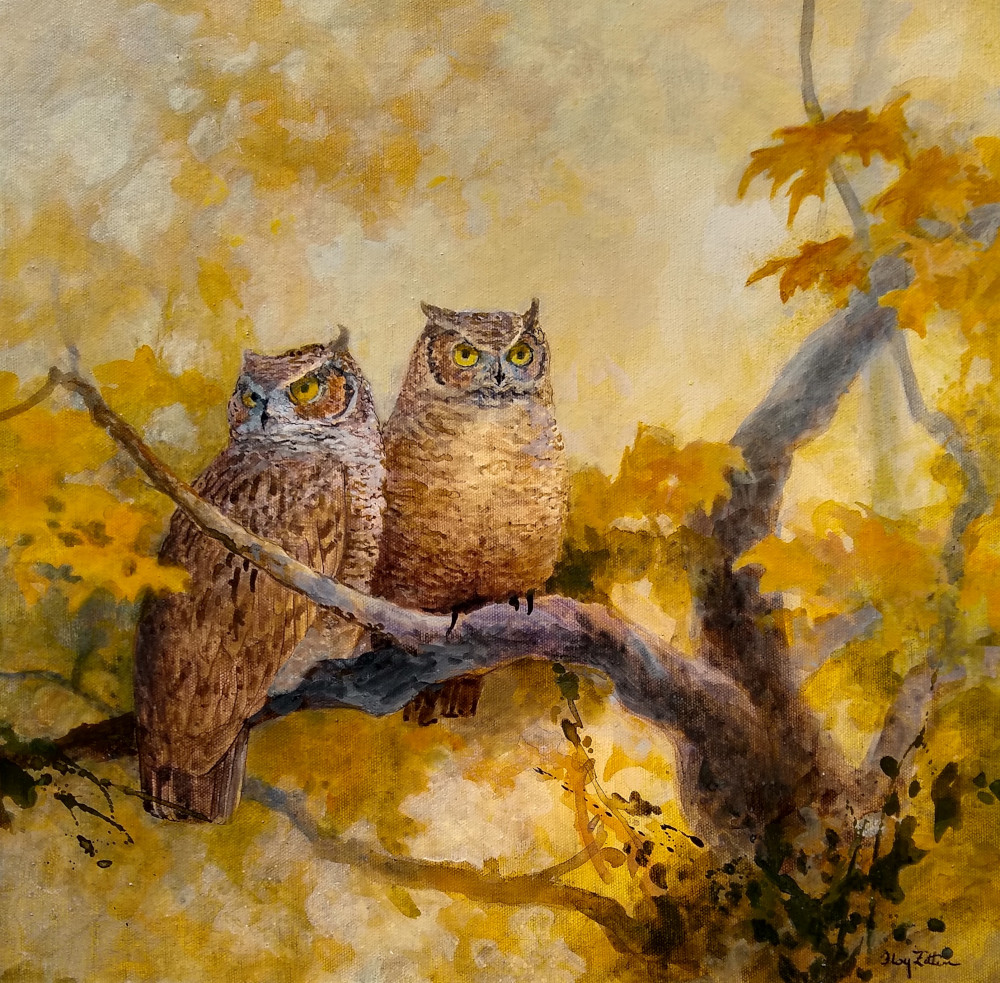 "Great Horned Owls 16"" x 16"" acrylic on canvas"