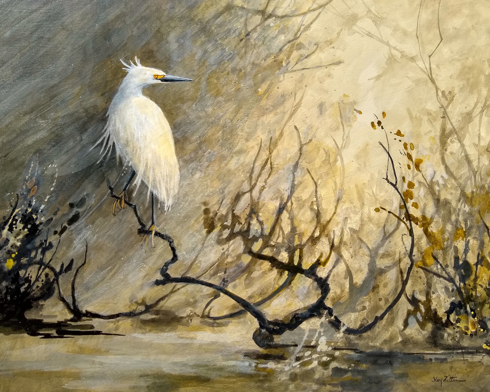 "Snowy Egret 16"" x 20"" acrylic on wood panel"