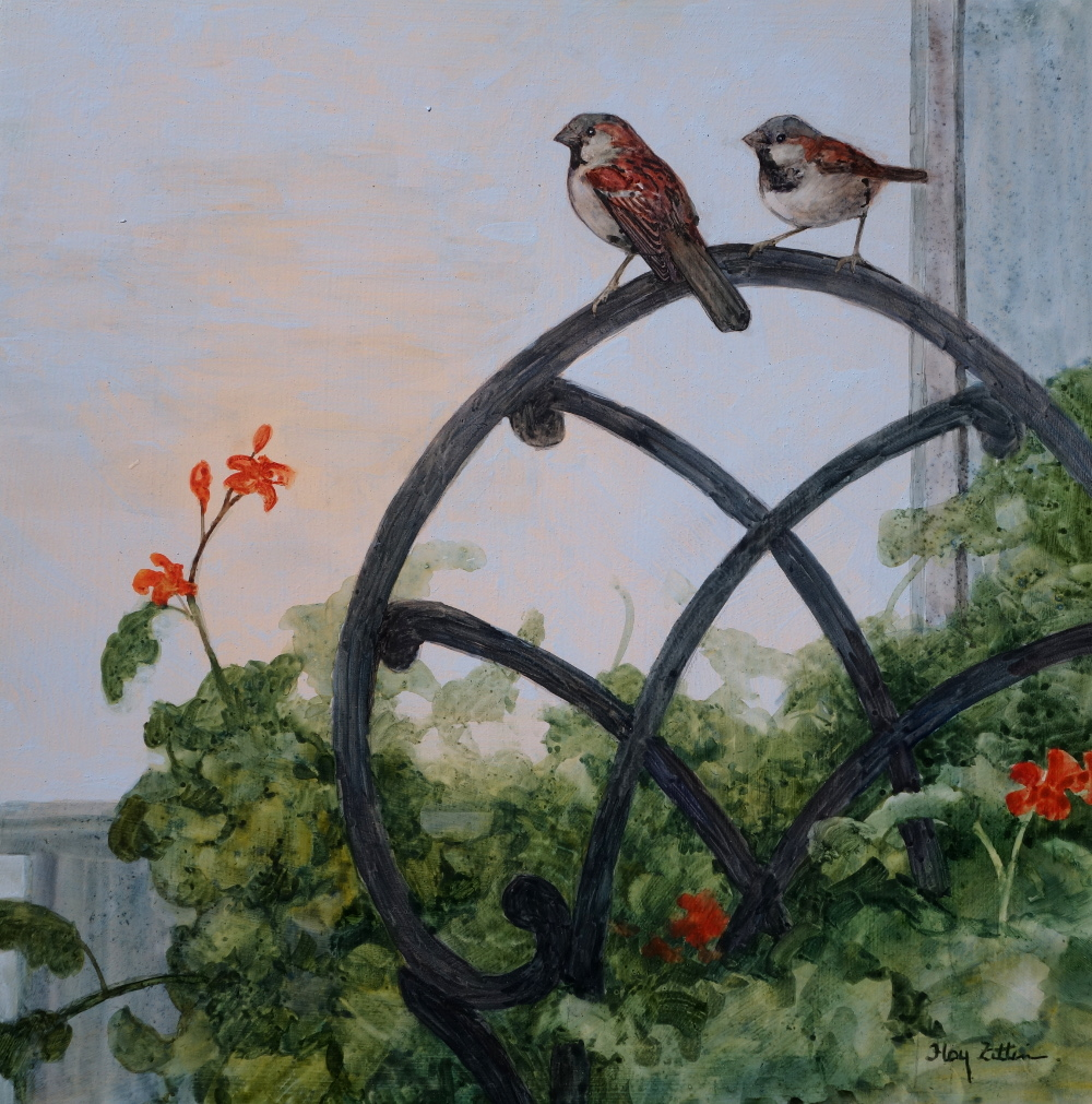 "House Sparrows and Chair 12"" x 12"" watercolor"