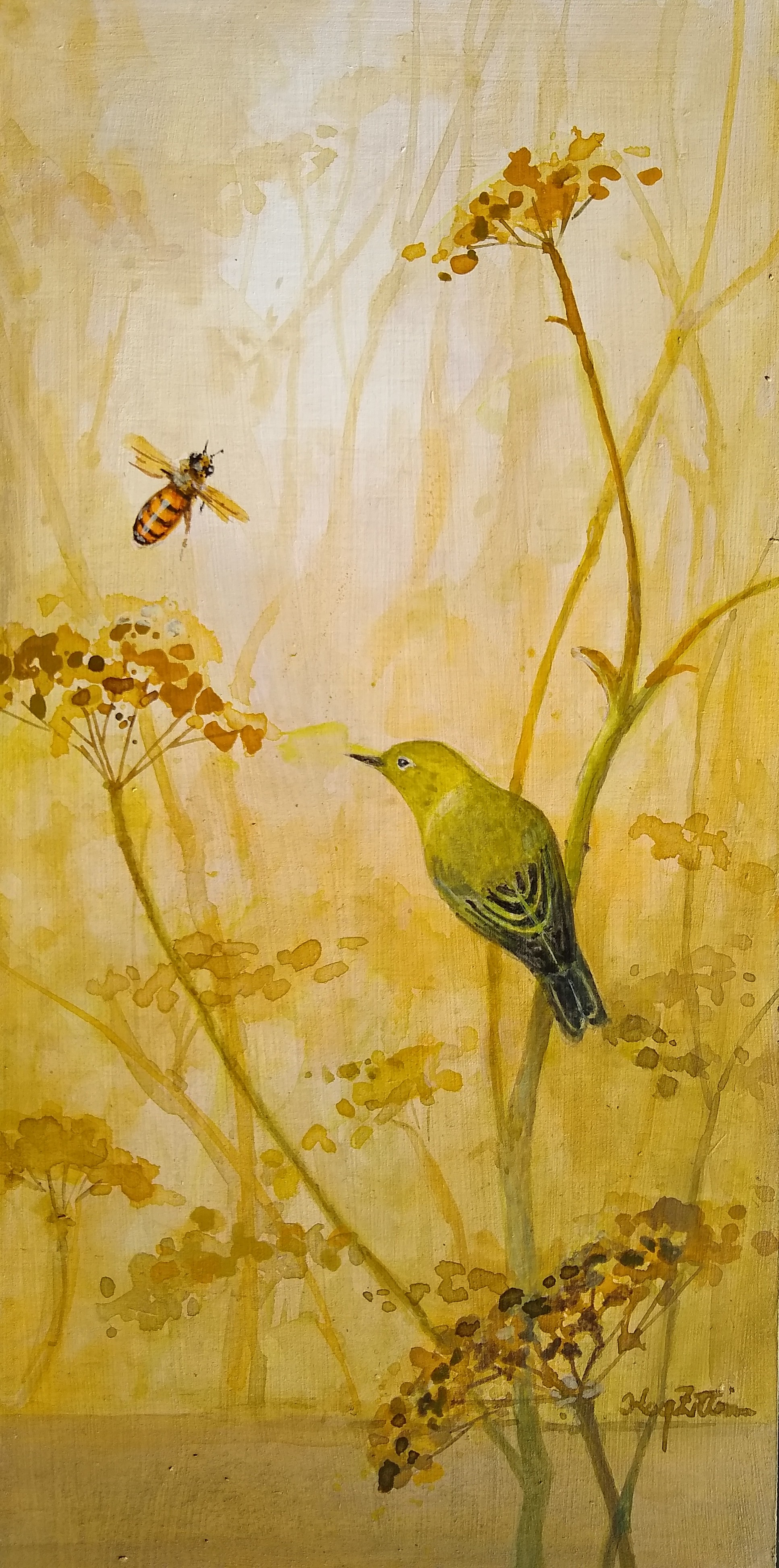 "Yellow Warbler and Fennel 12"" x 6"" acrylic on wood panel"