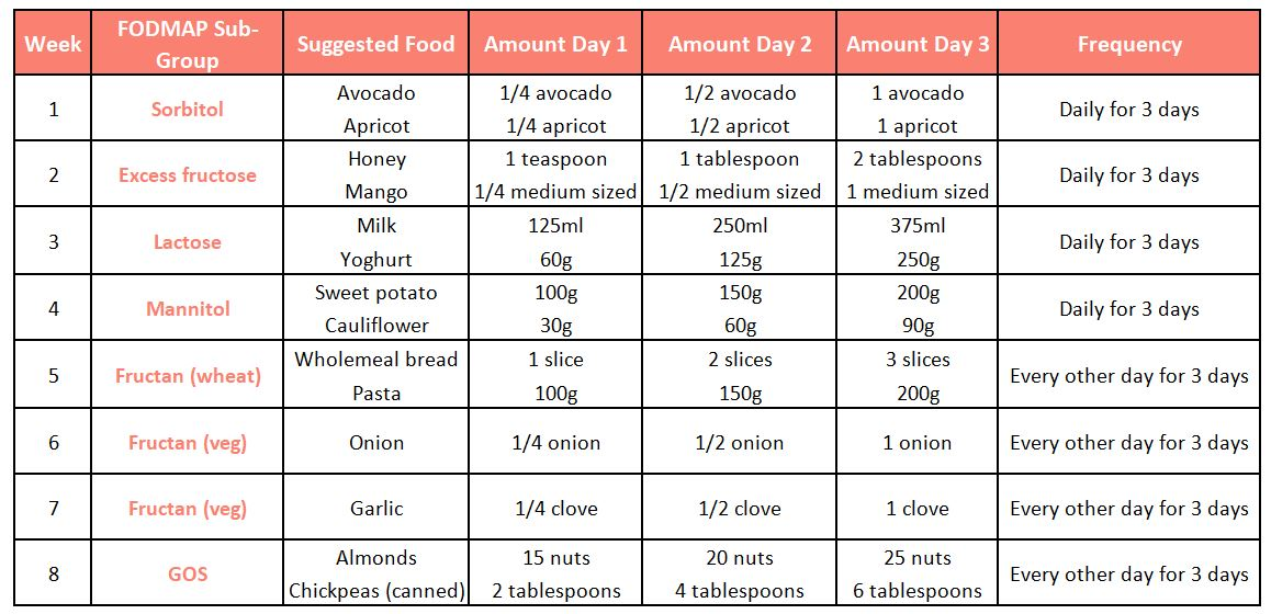 FODMAP Re-challenge foods and portion sizes