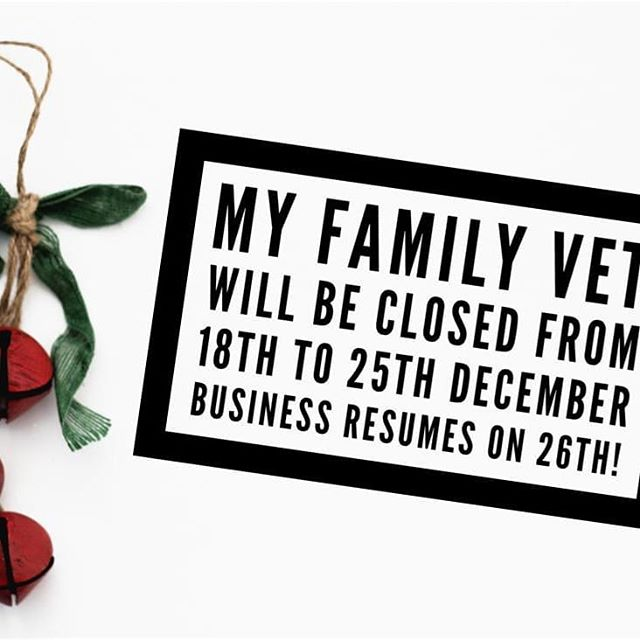 Happy holidays to everyone! My Family Vet Clinic will be closed from 18th December to 25th December.  We apologize for the inconvenience caused and again, we wish you a Merry Christmas and happy holidays!