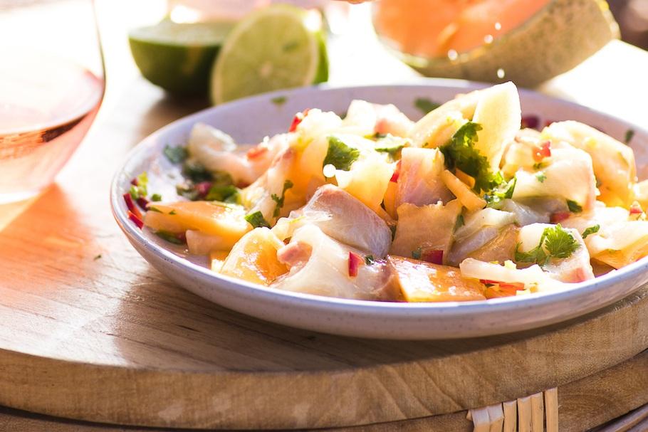 Sashimi Kingfish with Hot Sauce and Melon