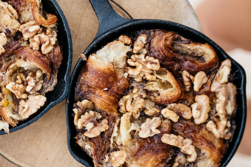 Caramelised Croissant Pudding with Maple Walnuts