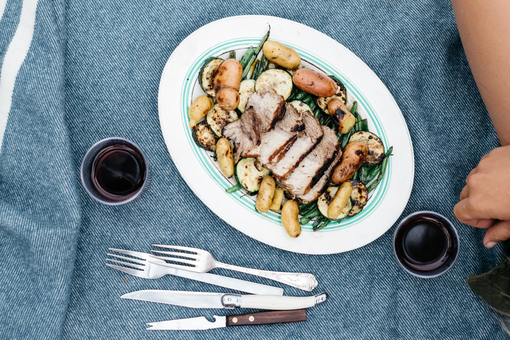 Cider-Poached Pork with Green Beans