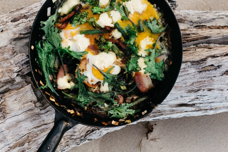 Fried Greens with Smoked Bacon & Eggs