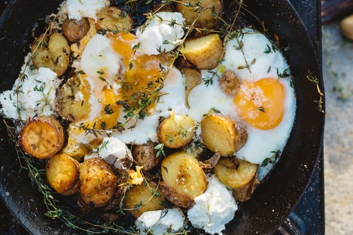 Leftover EVOO Fried Potatoes with Thyme & Eggs