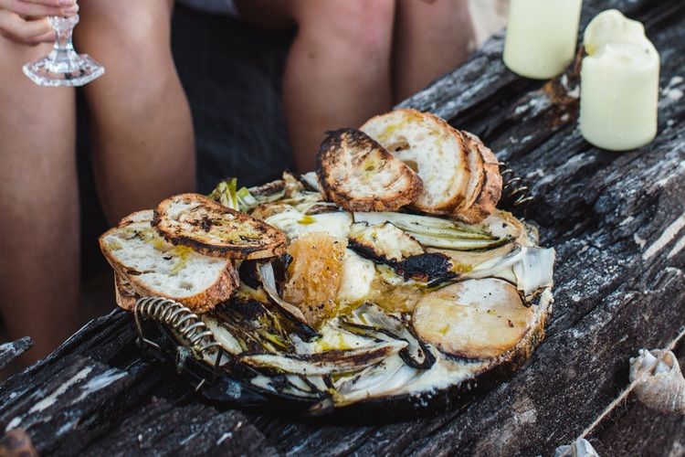 Chargrilled Cheeses with Endive and Wild Honeycomb