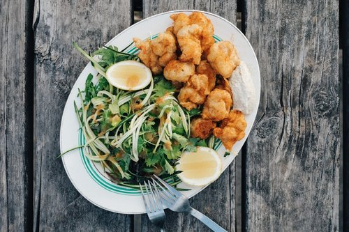 Old Bay Fried Scallops & Salad