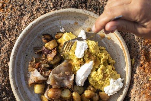 Last night's potatoes with Eggs & Lonza Mushrooms & Scrambled Eggs