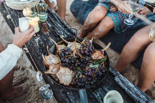 Hung Pork with Lemon Leaves & Blistered Grapes