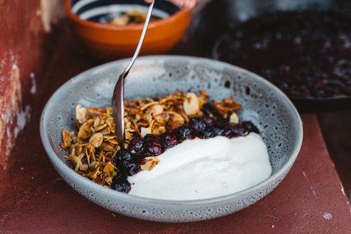 Hemp Seed EVOO Granola with Yoghurt & Blistered Berries