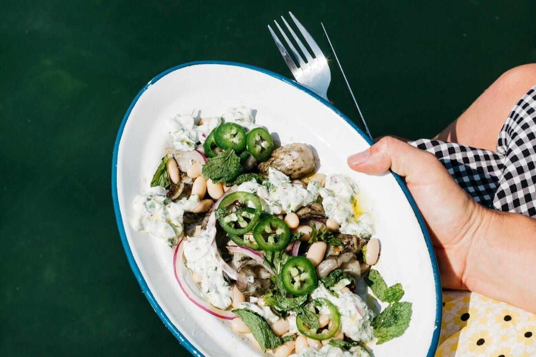 Copy of Squid and Bean Salad with Cilantro Cream