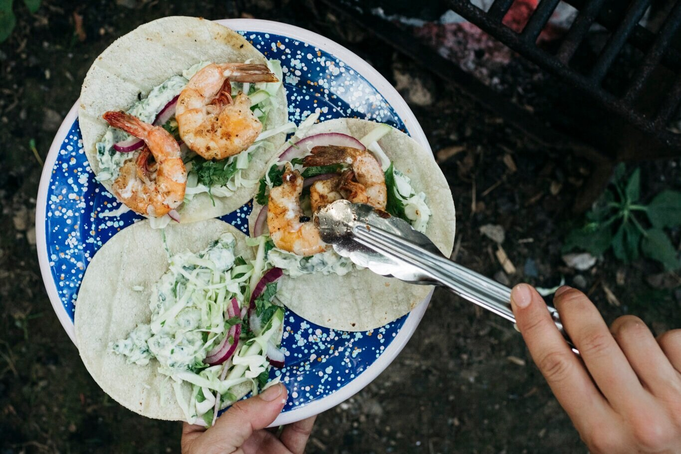 Whole Shrimp Tacos with Avocado and Cilantro Sauce and Pickled Apple and Onion