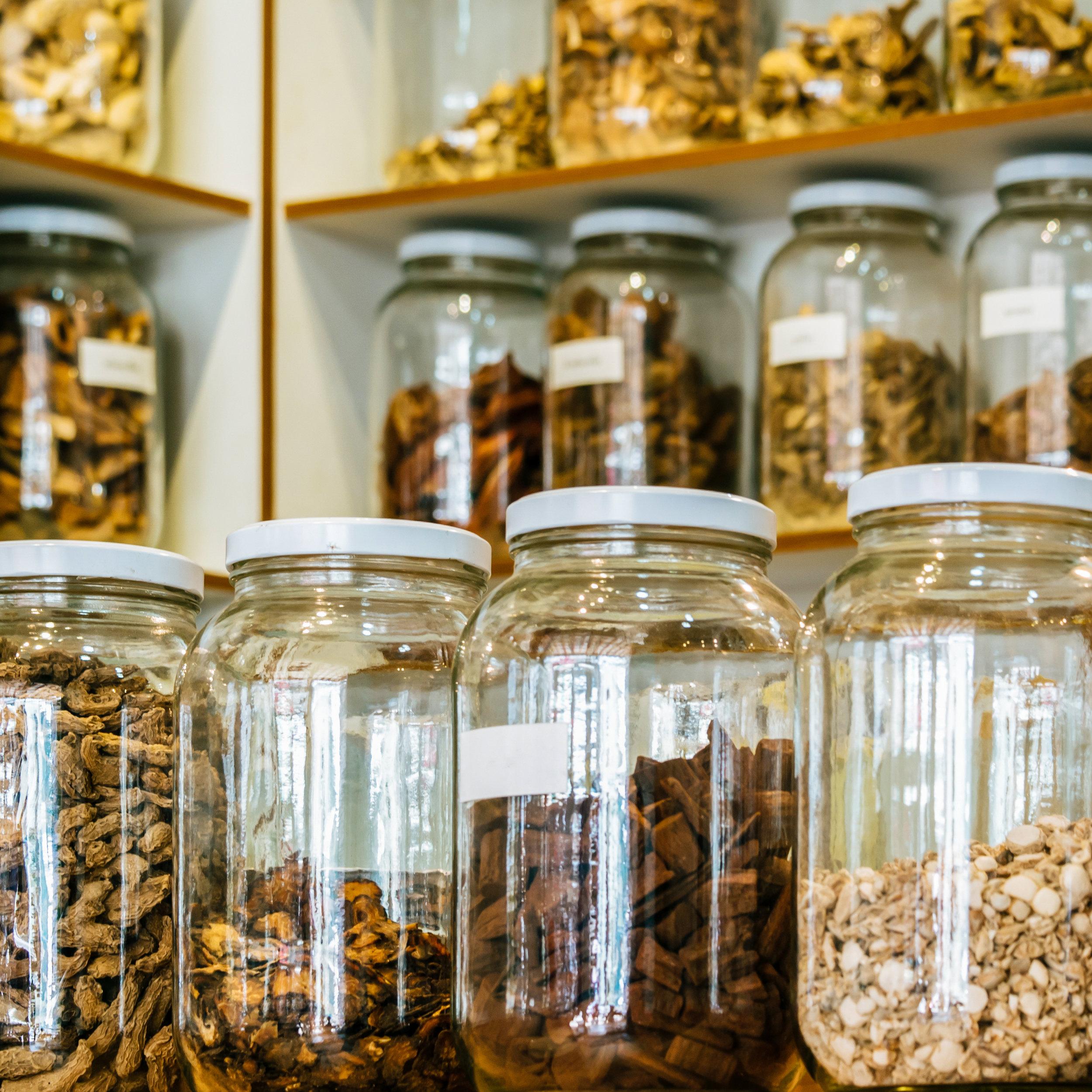 Herbalist Jars Roots Bark