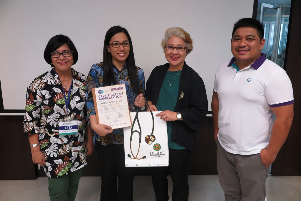 From L-R: Speaker Lita Bongcaron, RN, PhD; Speaker Dr. Ara Ofina; DLSHSI College of Nursing Dean Resty Tan, RN, PhD; Speaker & Host Carlo Quilaton, RN