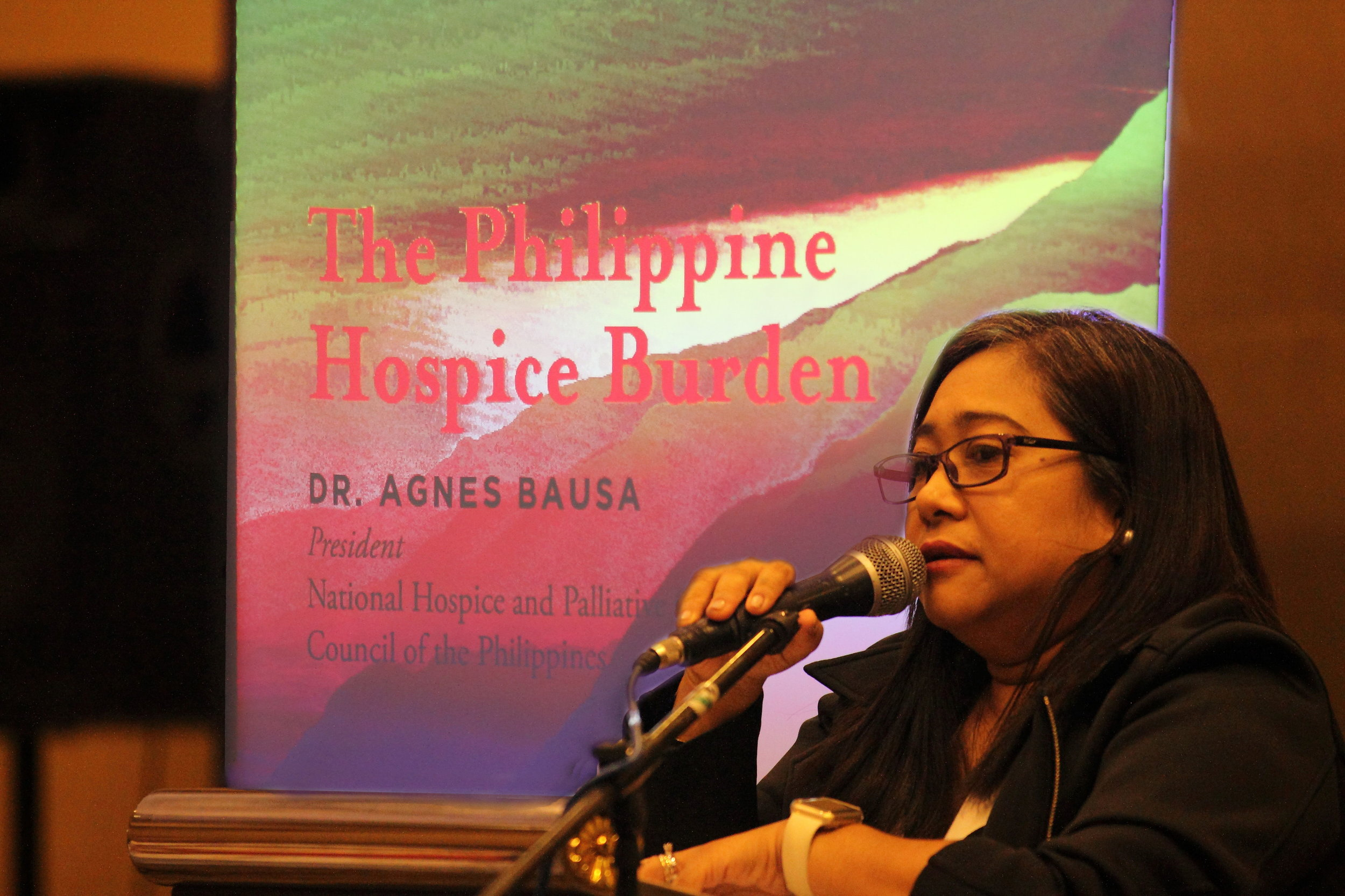 The president of the National Hospice and Palliative Care Council of the Philippines, Dr. Agnes Bausa, spoke on the burden of hospice in the Philippines.