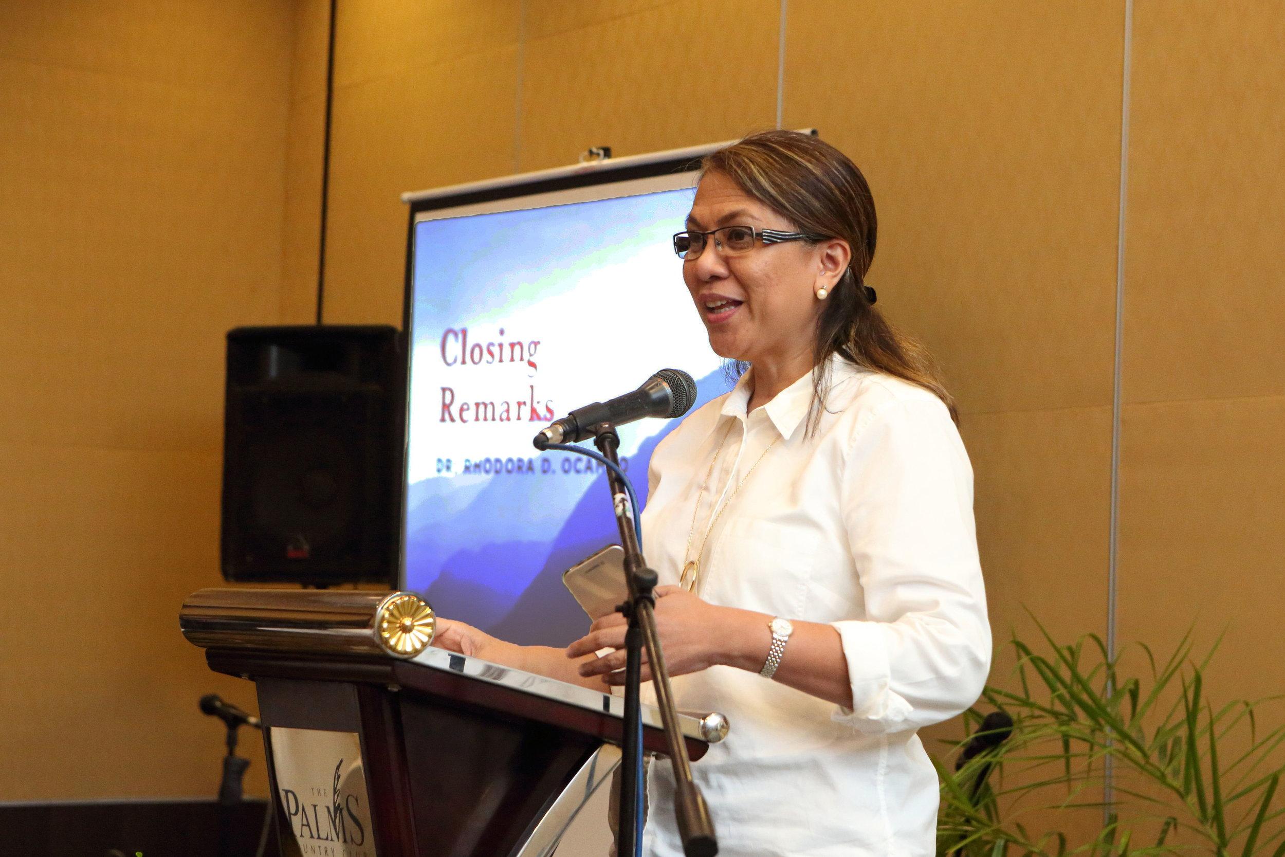 Closing remarks by Dr. Rhodora Ocampo