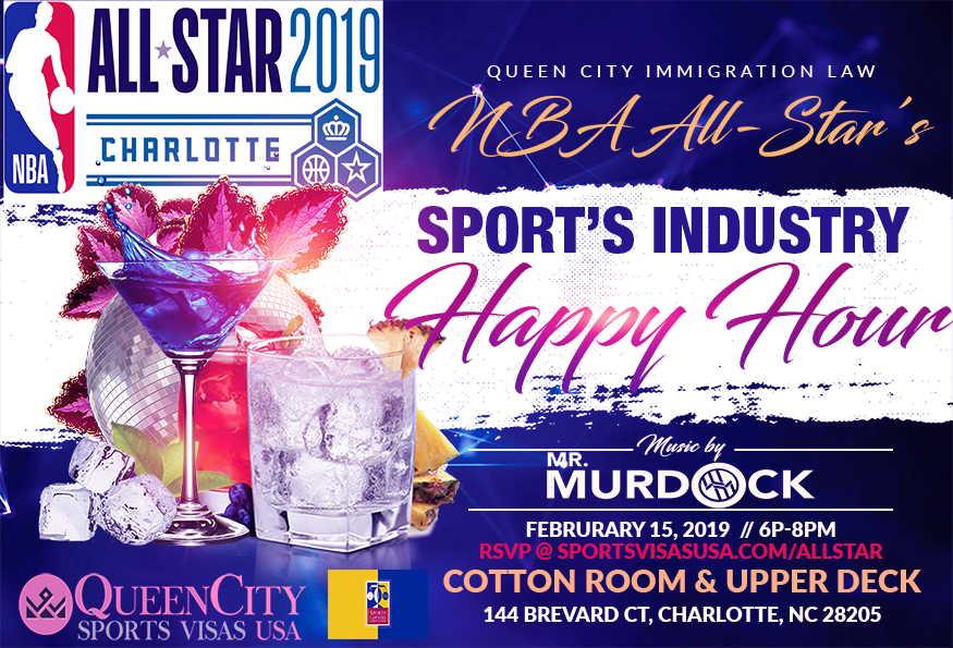 NBA All-Star Sports Industry Happy Hour - February 15, 20196:00 PM to 8:00 PMCotton Room & Upper Deck   French Quarter Uptown144 Brevard Ct, Charlotte, NC 28205