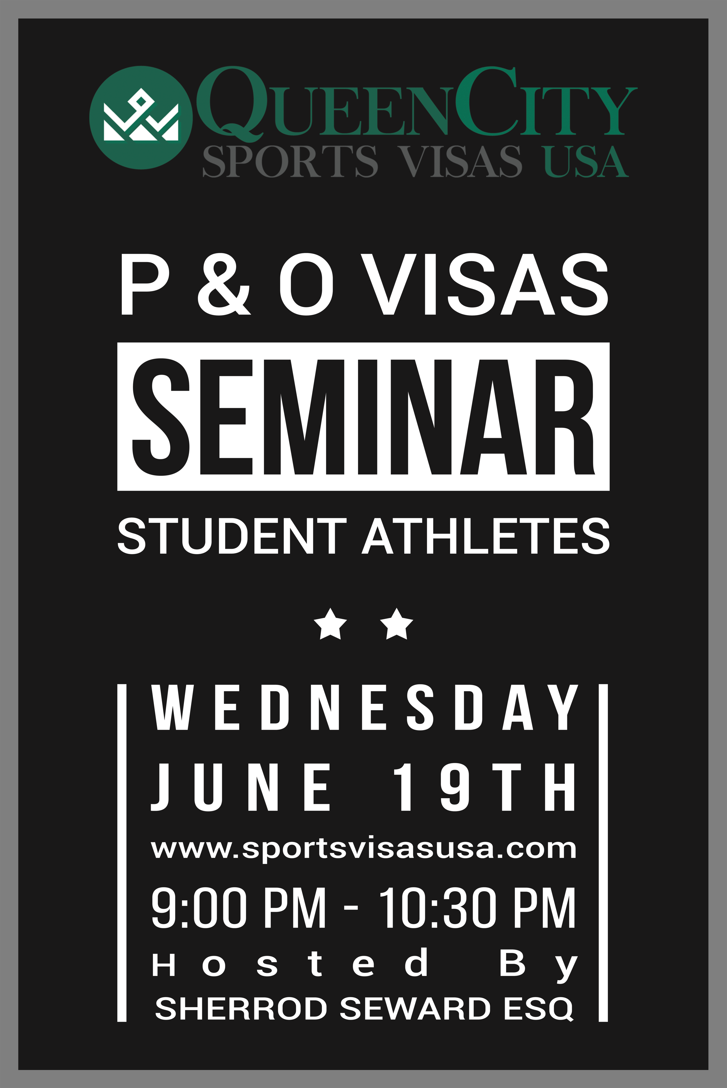 Sports Immigration Seminar - June 19, 201910:00 AM to 10:30 AMONLINE SEMINAR
