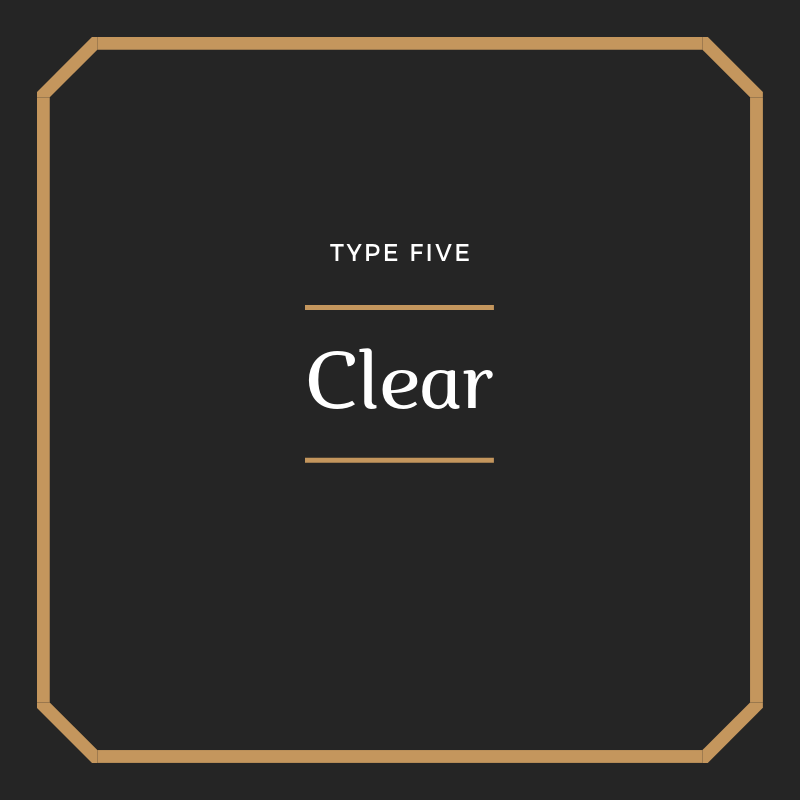 Clear - A movement from stinginess and avarice, conserving and compartmentalising emotional energy and knowledge, believing the world demands too much of us, to a state of Non-Attachment, understanding that full participation in the flow of life will not result in depletion but in rejuvenation and clarity. Lyrics & more…