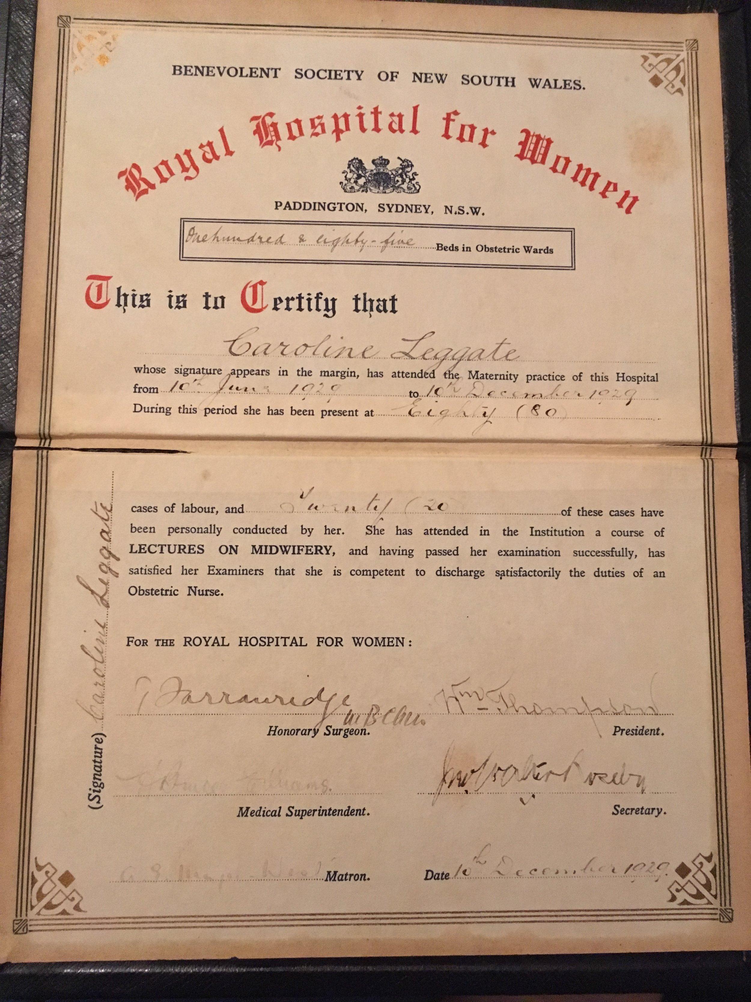 certificate 1929