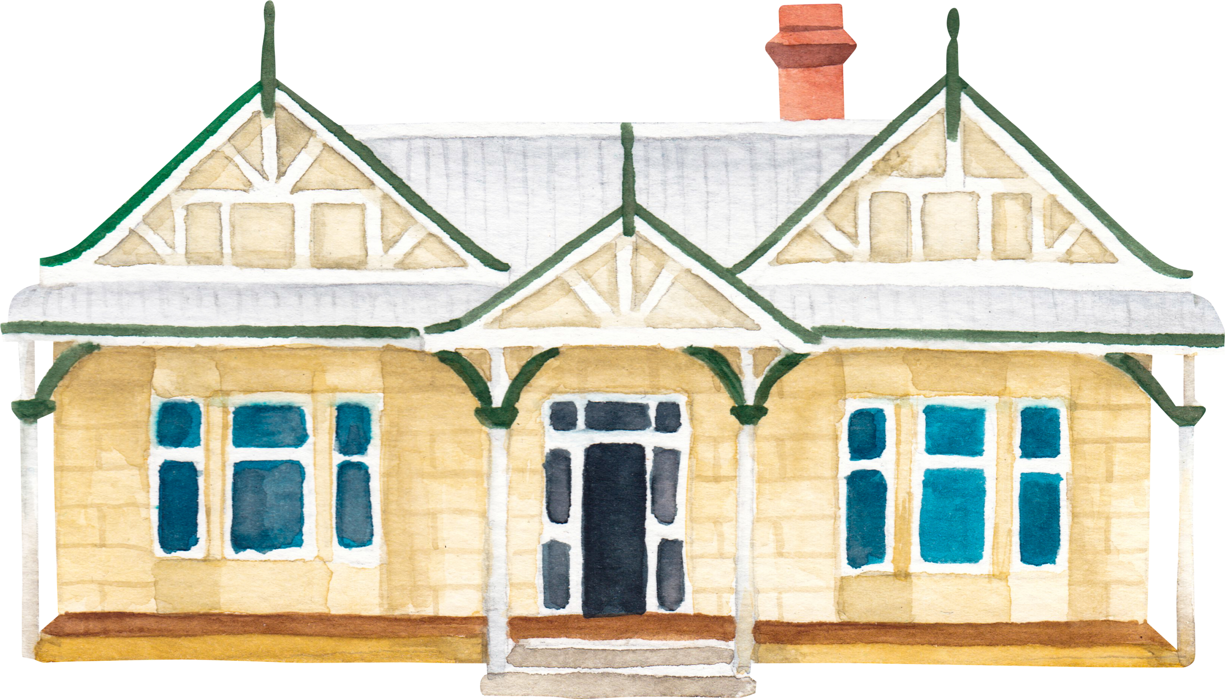 """Courtesy of the Town of East Fremantle Heritage Trail, Artist:  Miles Noel   """"A Federation Bungalow style built by Mr William Angwin JP MLA in 1909, a beautifully symmetrical home featuring a full width bullnosed verandah."""""""