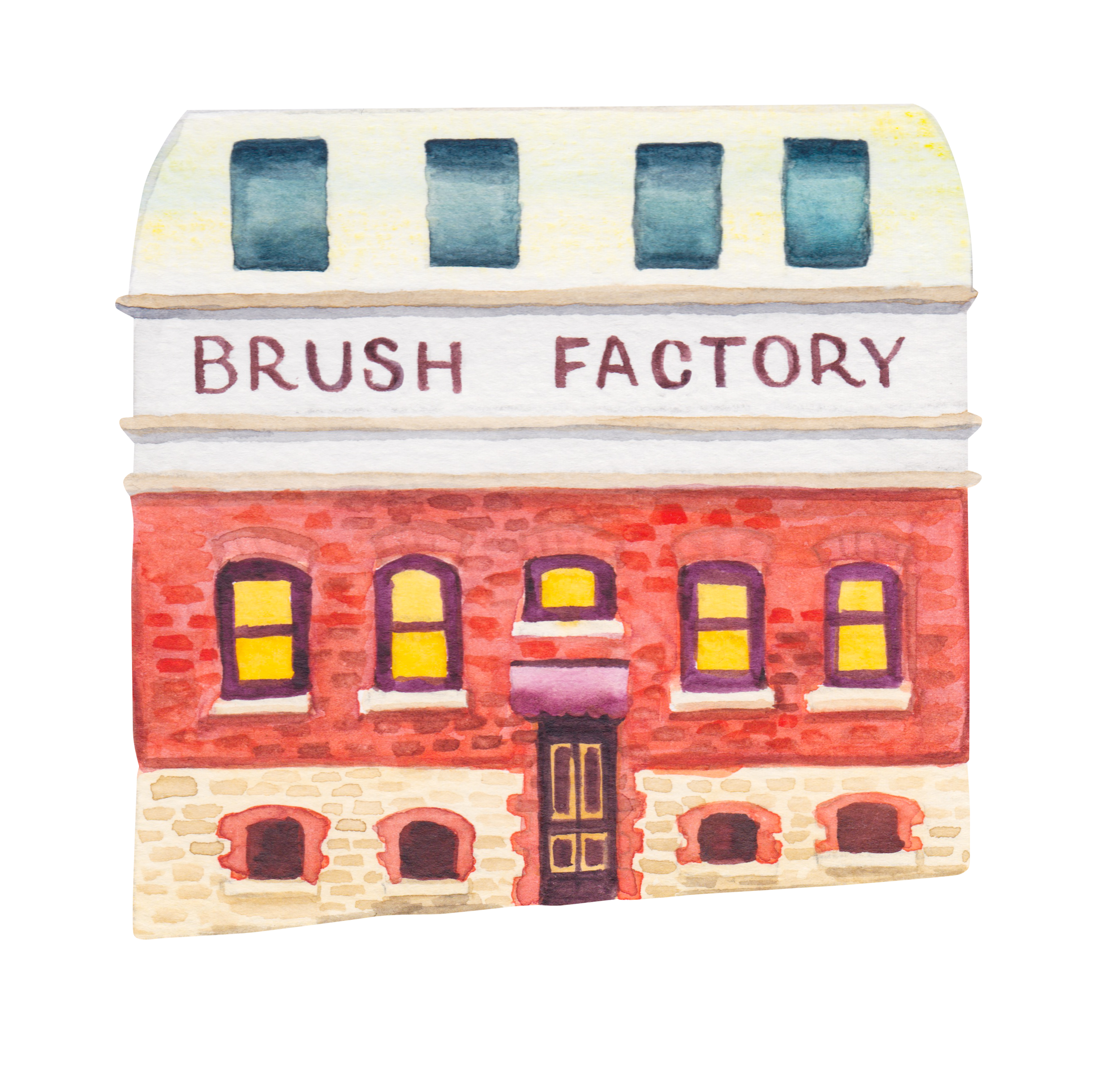 """Courtesy of the Town of East Fremantle Heritage Trail, Artist:  Miles Noel   """"This new factory for the WA Brushware Co. started life in 1907. In 2018, the newly renovated premises re-opened, featuring the Duke of George jazz bar."""""""