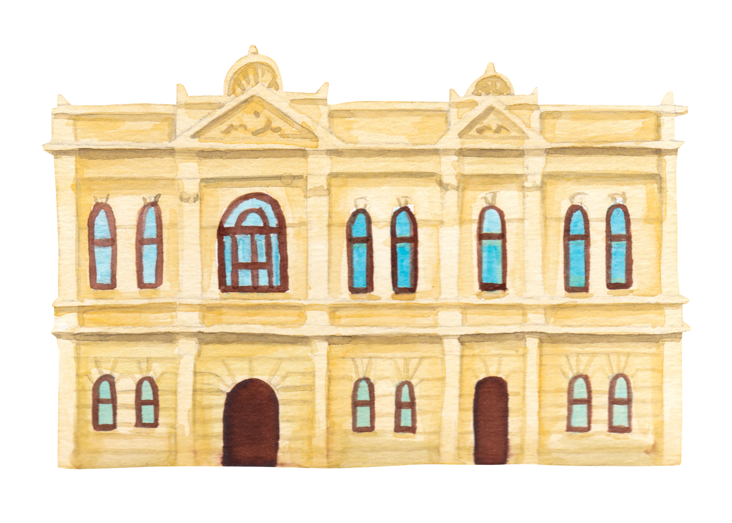 """Courtesy of the Town of East Fremantle Heritage Trail, Artist:  Miles Noel   """"One of a group of public buildings (with the """"Police Station"""" & """"Post Office"""") built between 1899 & 1902. This is the civic heart of the Town of East Fremantle."""""""