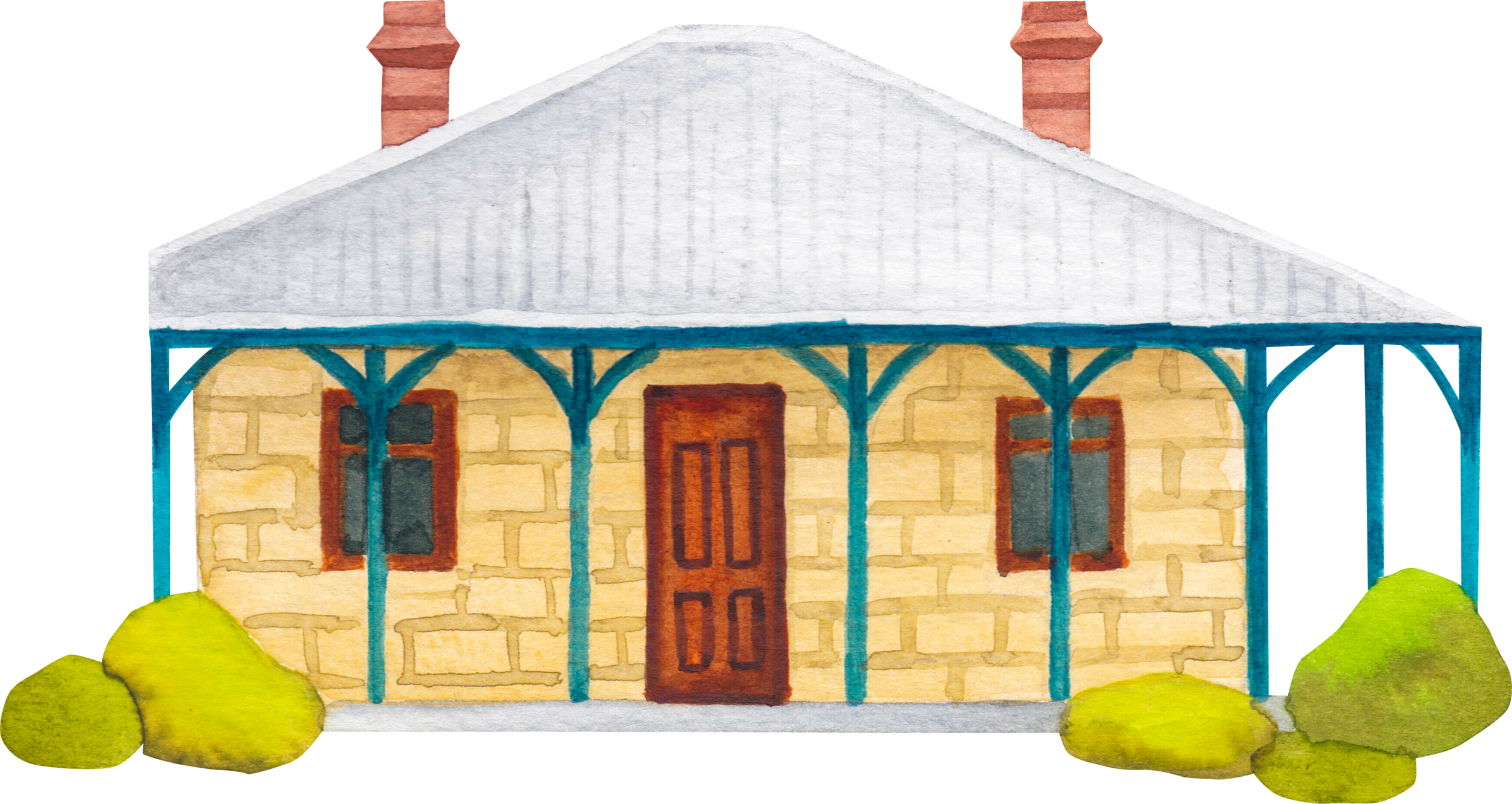 """Courtesy of the Town of East Fremantle Heritage Trail, Artist:  Miles Noel   """"A Federation bungalow, Rustic with Georgian Influences, which retains most of its external detail. Two brick cells are still located at the rear of the building."""""""