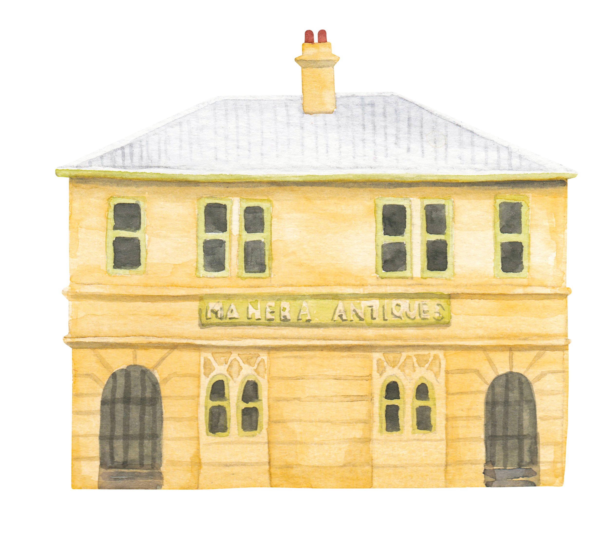 "Courtesy of the Town of East Fremantle Heritage Trail, Artist:  Miles Noel   ""This finely designed two storey Federation Classical style building provides a visual focal point for the Town with strong aesthetic value."""