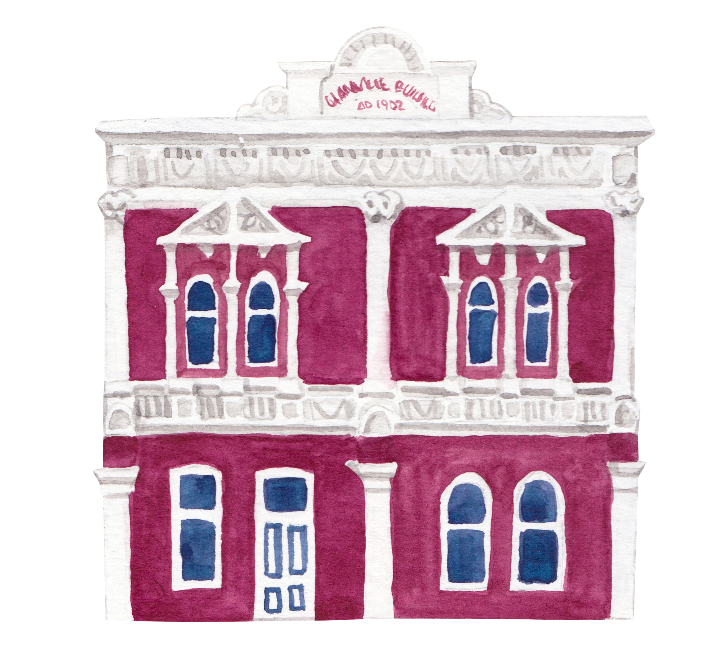 """Courtesy of the Town of East Fremantle Heritage Trail, Artist:  Miles Noel   """"This Hitchcock designed building was built in 1902 for Mr Henry Charles Glanville, a Fremantle chemist. It is the only known three-storey example of his architecture in WA."""""""