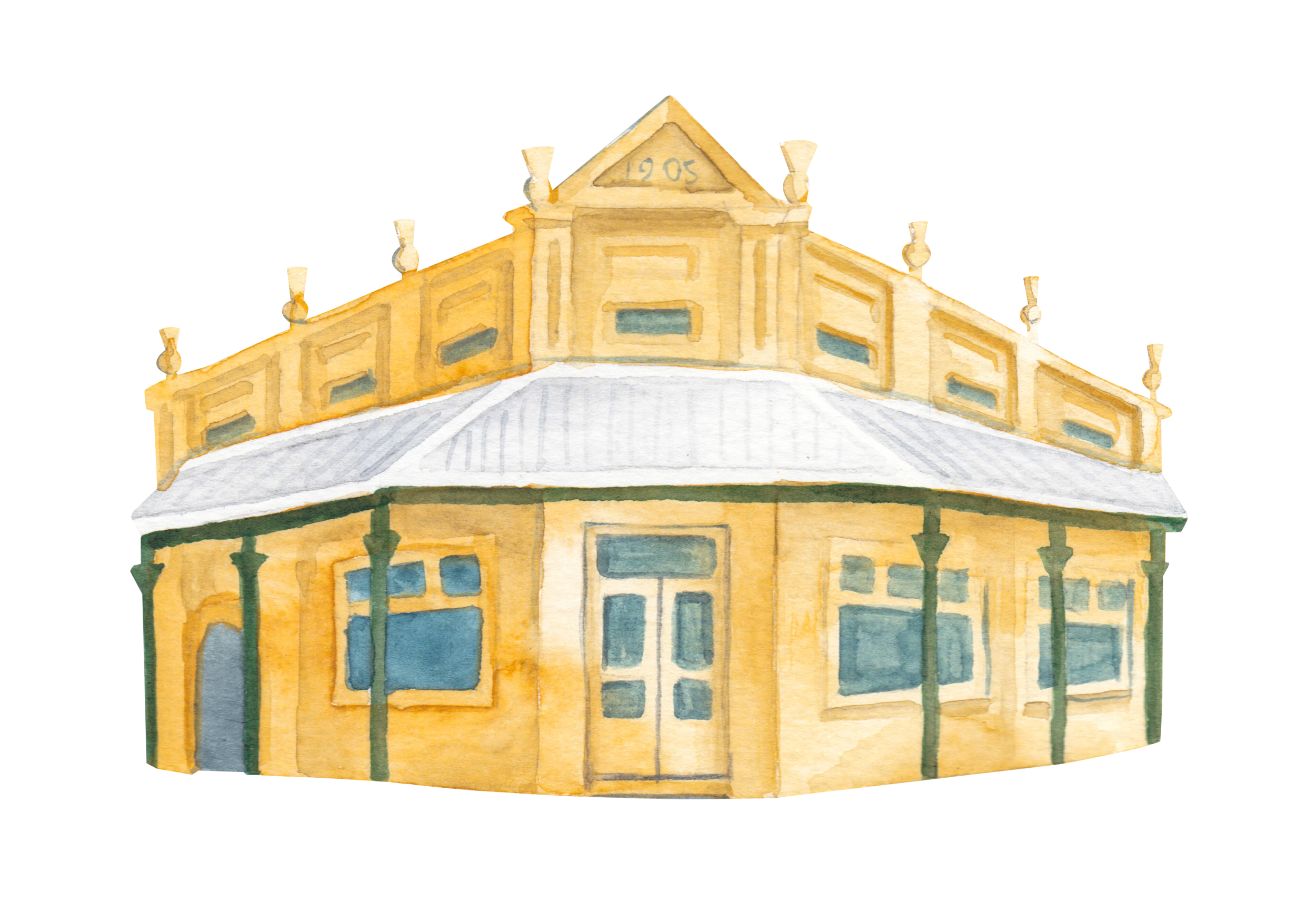 "Courtesy of the Town of East Fremantle Heritage Trail, Artist:  Miles Noel   ""Comprises a corner shop & 7 terrace residences with distinctive tall capped chimneys. The street's namesake, George Pearse, arrived in WA in 1829."""