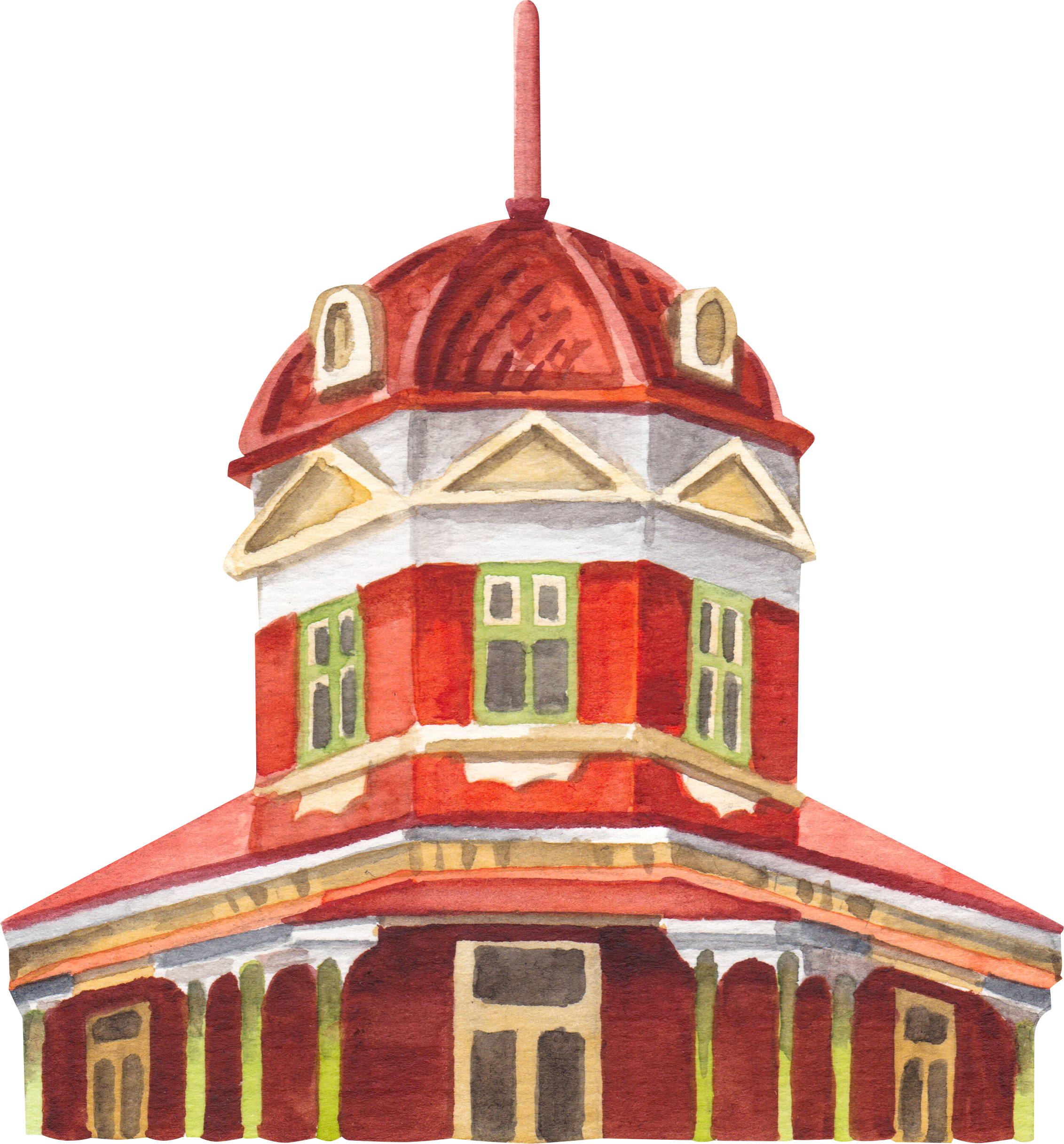 "Courtesy of the Town of East Fremantle Heritage Trail, Artist:  Miles Noel   ""Built in 1885, a two-storey Federation Free Classical style corner hotel building with the cupola being a rare example still in its original form."""