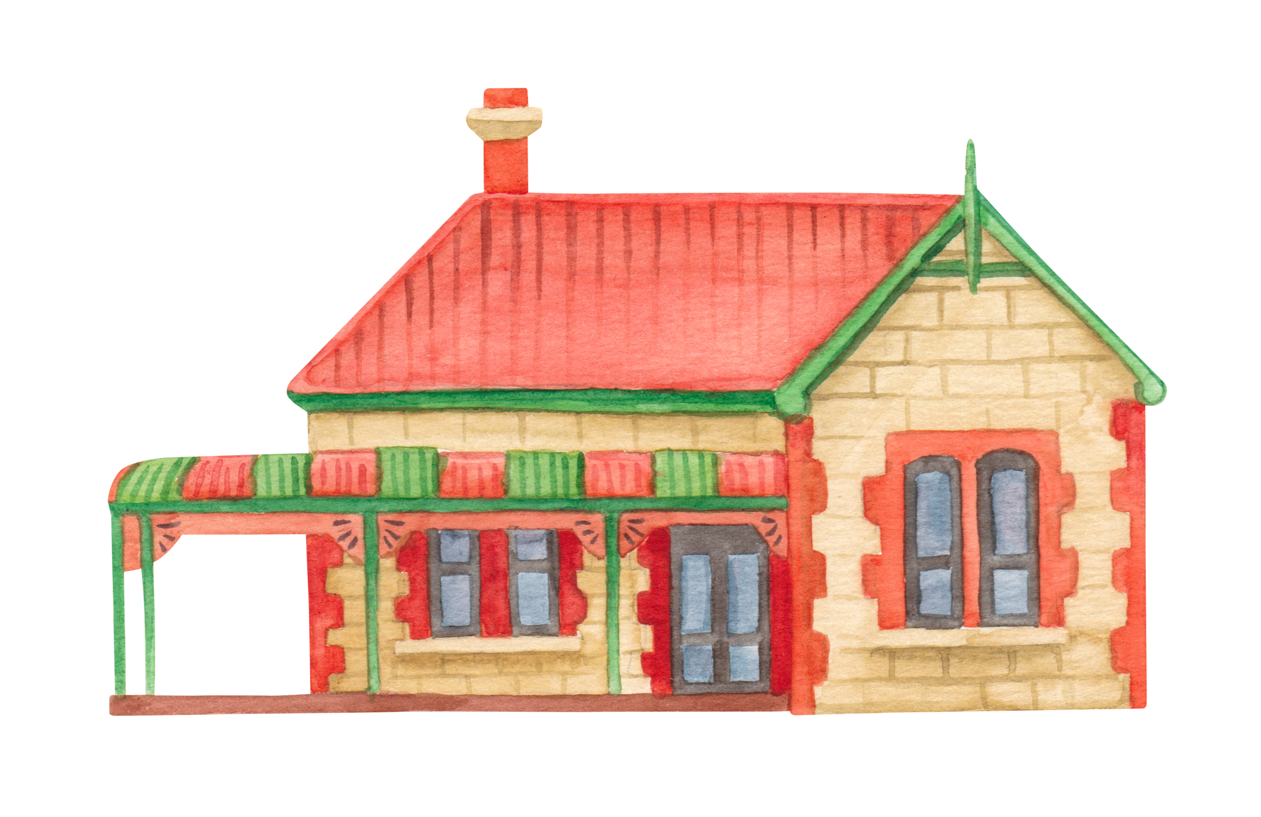 "Courtesy of the Town of East Fremantle Heritage Trail, Artist:  Miles Noel   ""Federation style, Regency influences. A wonderfully original house, with a significant expansion, which retains its form & details."""