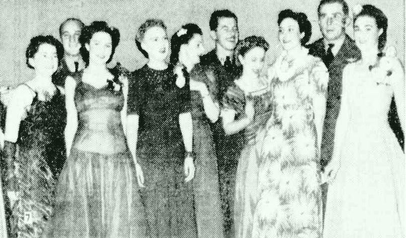 Betty Crow, third woman from left