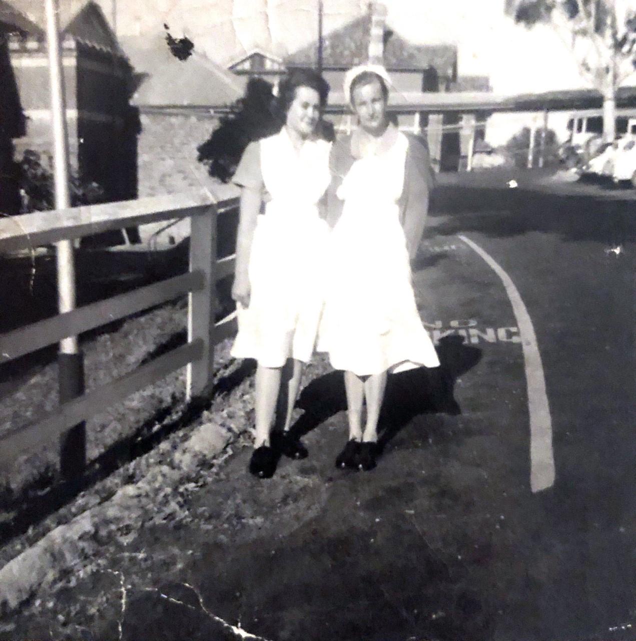 Glenda  and  a friend, Claremont hospital c. 1960s