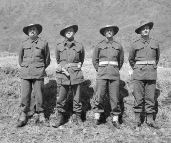 Officers of Support Company, 3rd Battalion, Royal Australian Regiment in Korea, March 1951, Captain Phillip Bennett on right