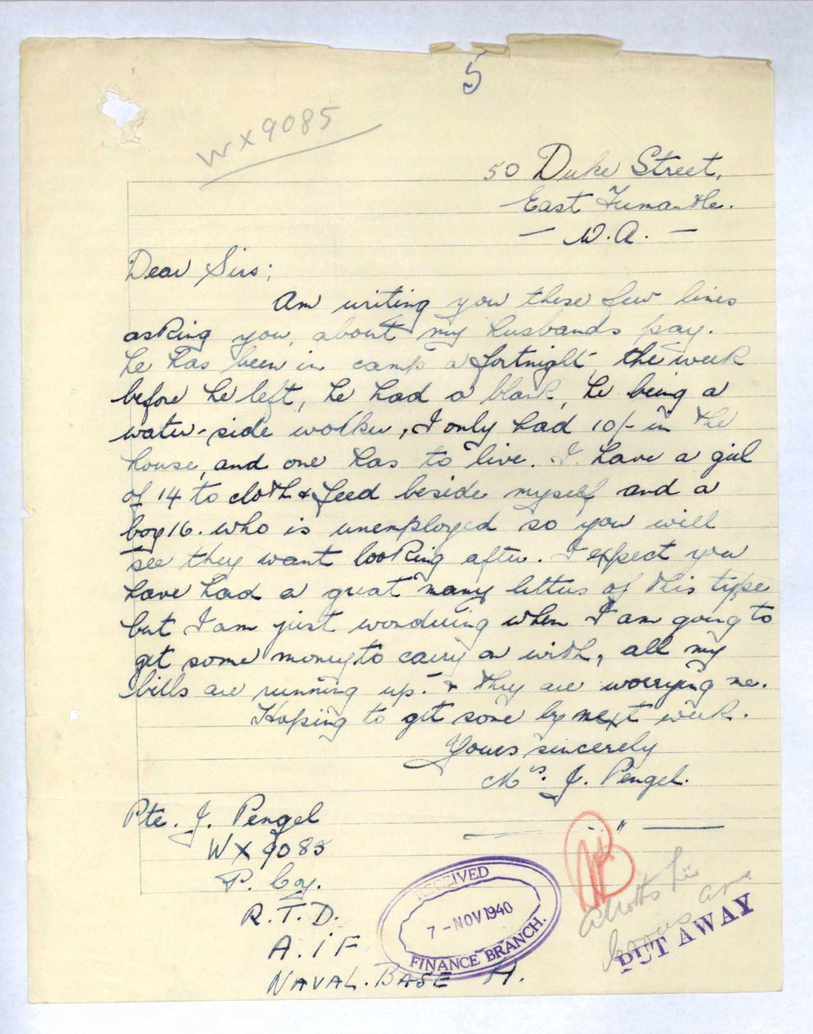 1940 letter from Alice Pengel