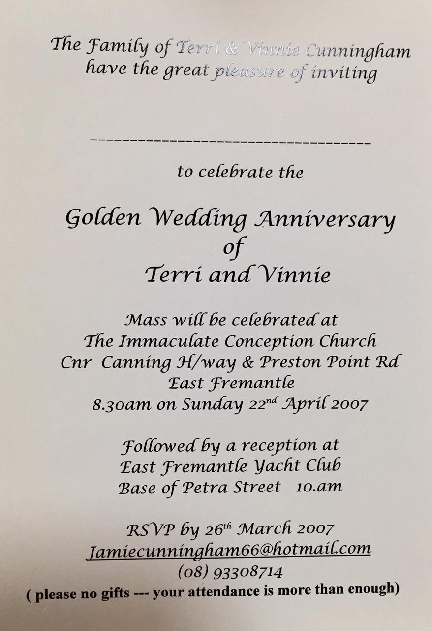 2007 Golden wedding anniversary