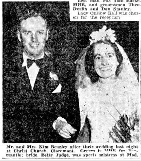 Kim Beazely marries Betty Judge 1948