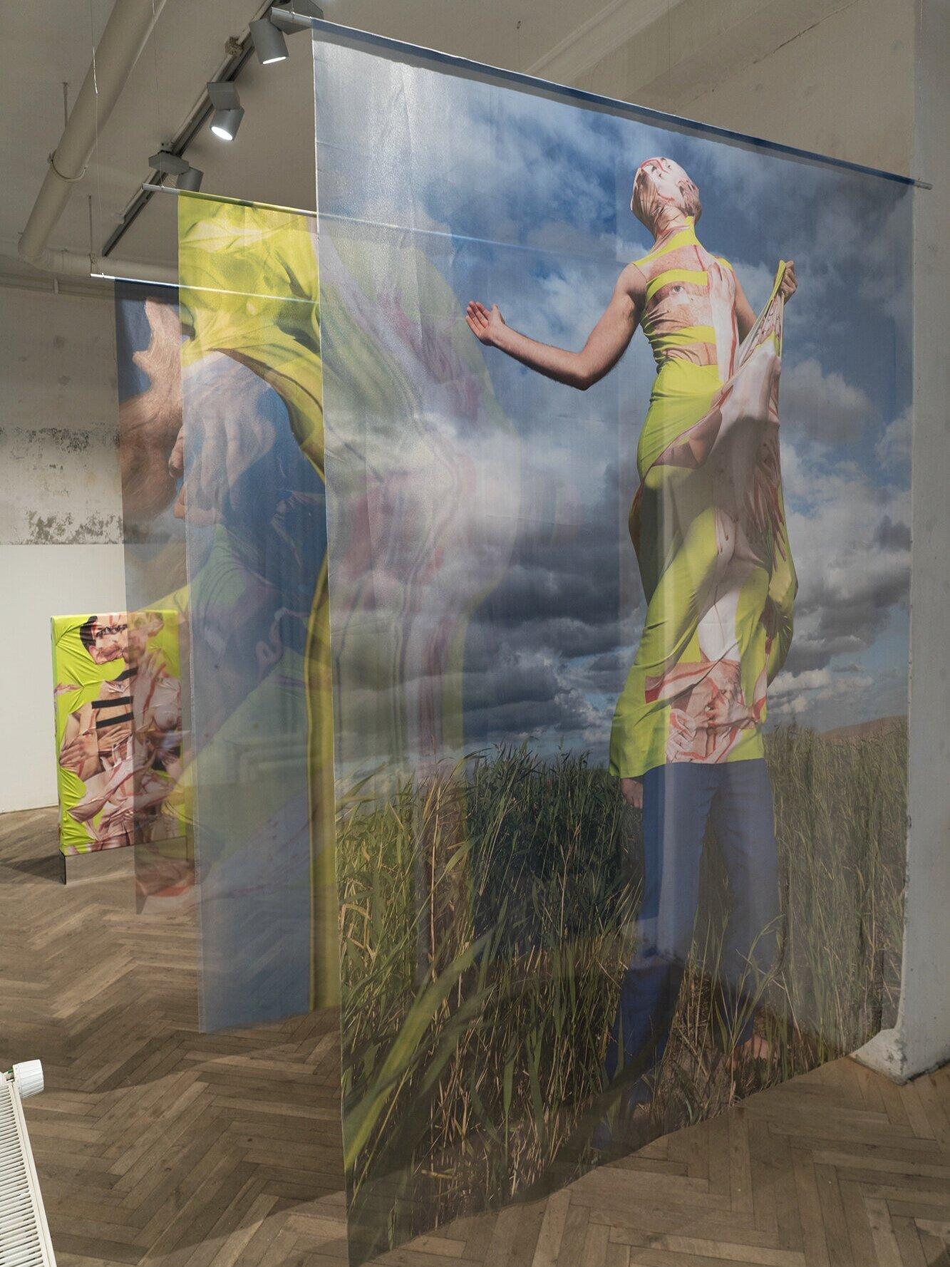 """Portrait of a human"" and ""Monolith"" 2019 - Textile, mixed mediaPhoto @Henriette Sabroe Ebbesen"
