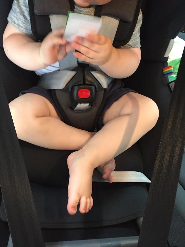 Example of leg position for rearward facing child as they grow  – Image Credit – Elise Bosaid