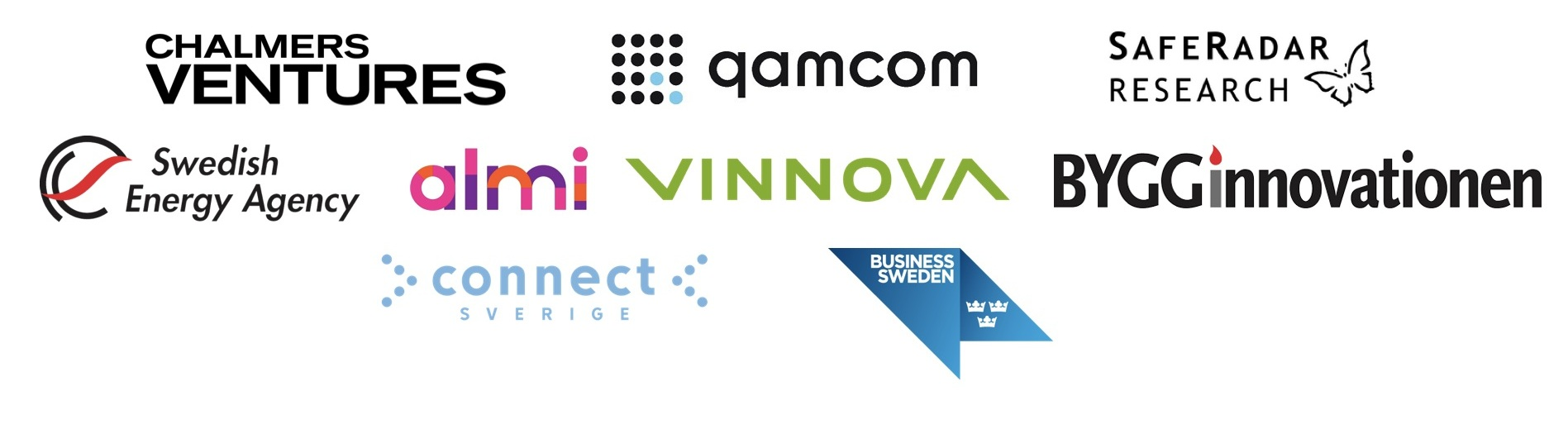 Vi är partners och stöds av:  Chalmers Ventures ,  Qamcom Ventures ,  Safe Radar Research ,  Swedish Energy Agency ,  Almi ,  Vinnova ,  Bygg Innovationen ,  ConnectSverige ,  Business Sweden