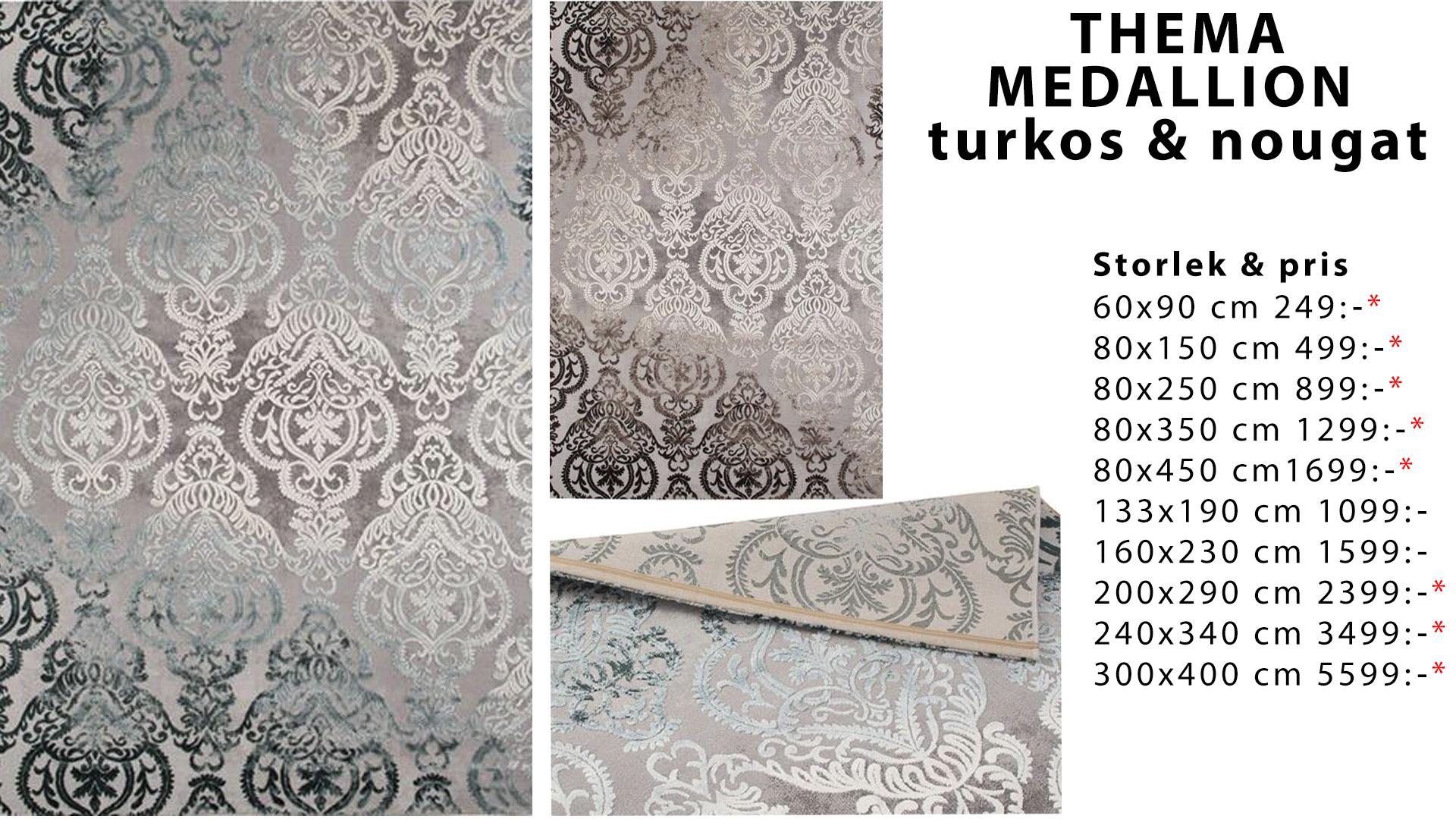 Thema madallion turkos och noughat matta