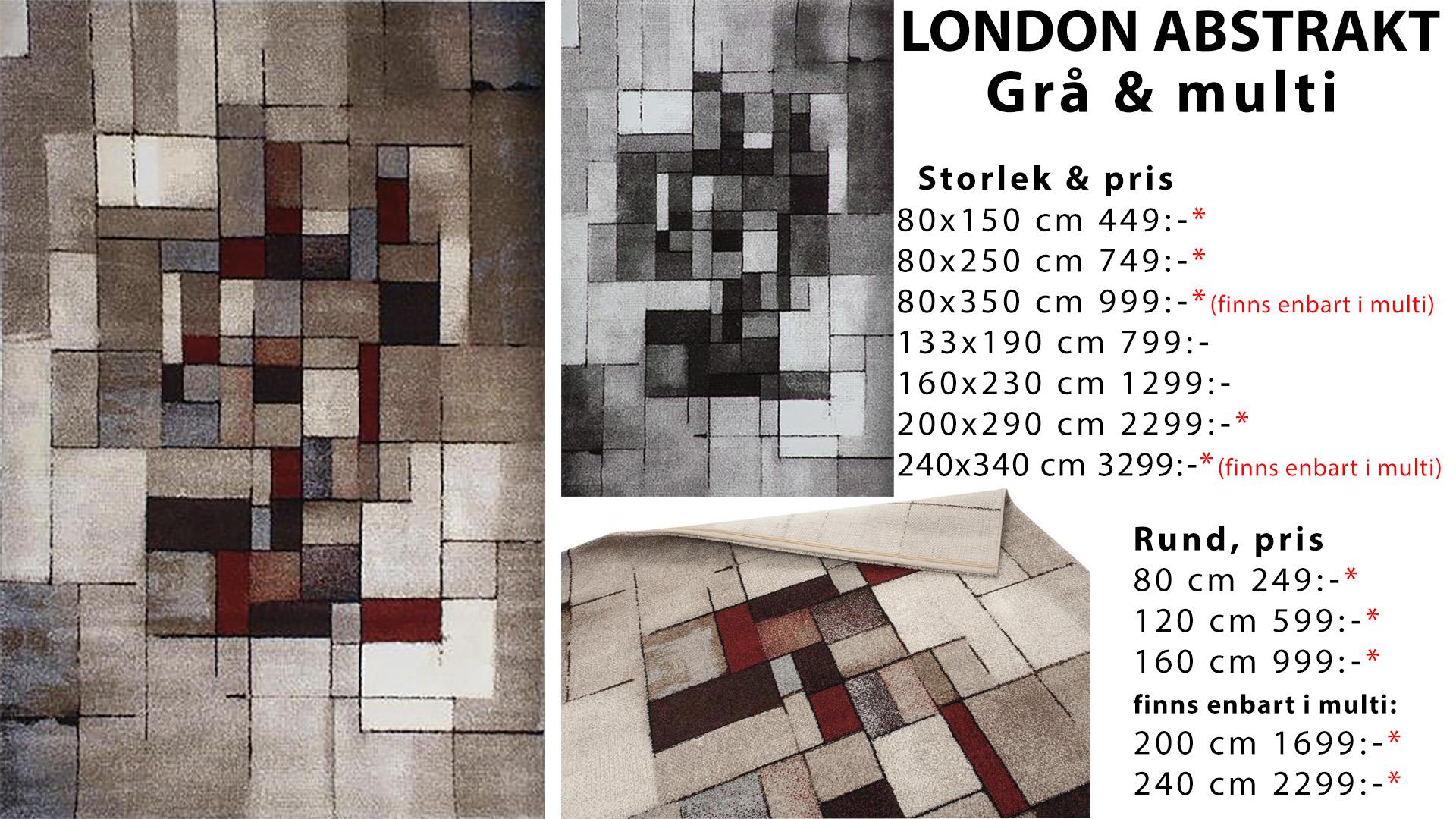 London abstrakt grå och multi matta