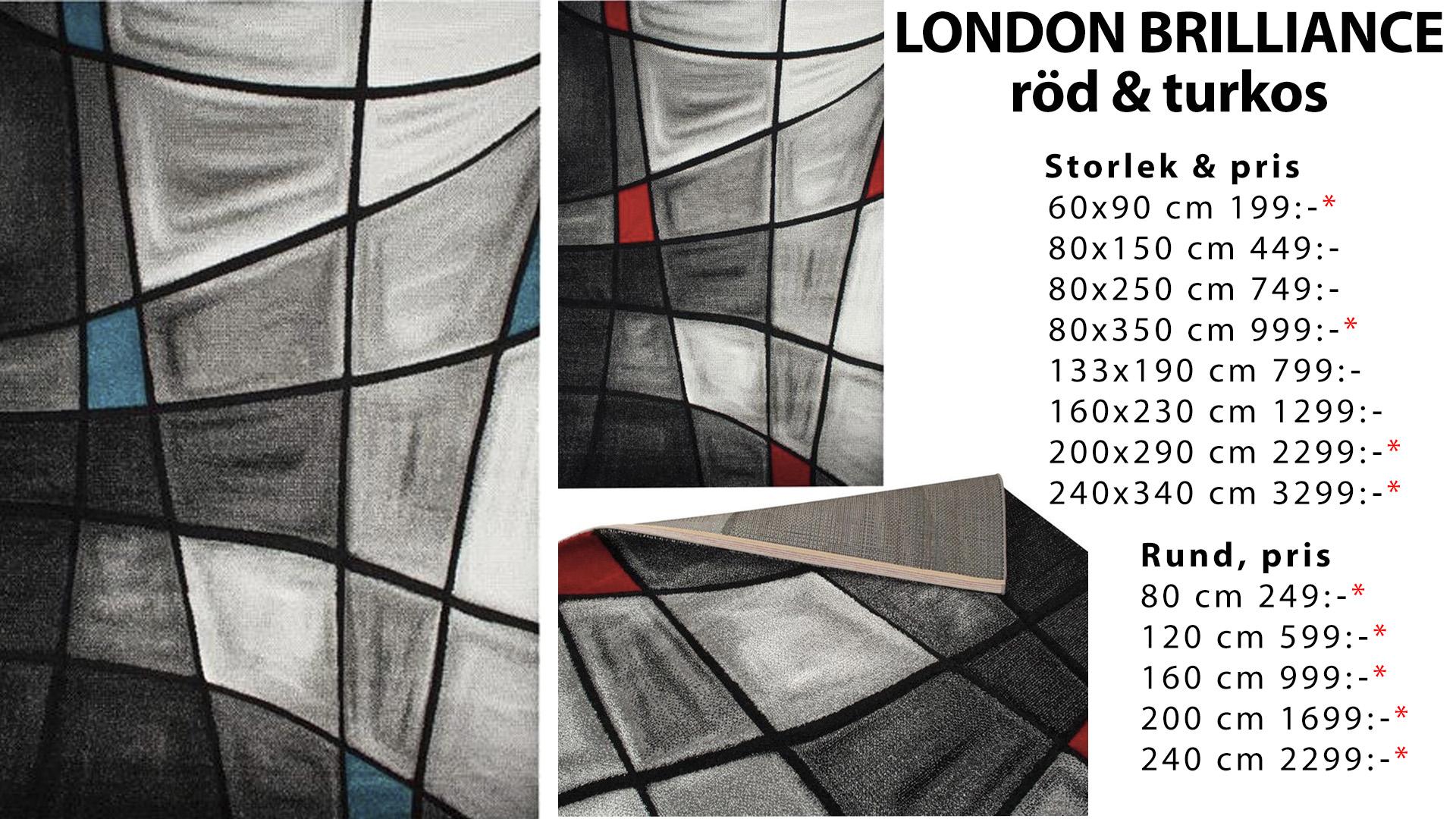 London brilliance röd och turkos matta