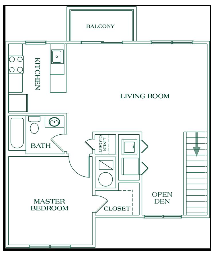 One Bedroom Second Floor - SIZE: 849 SQ. FT.