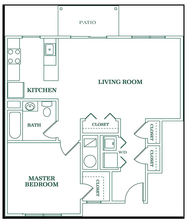 One Bedroom Ground Floor - SIZE: 798 SQ. FT.